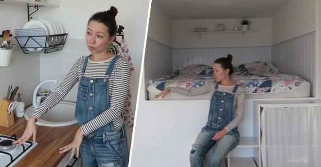 Хрупкая девушка сделала крутой и стильный ремонт в хрущевке своими руками