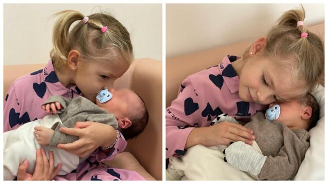5-летняя дочь Тимати встретилась с новорожденным братиком
