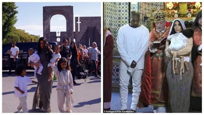 Ким Кардашьян прилетела в родную Армению, чтобы крестить 4-х детей