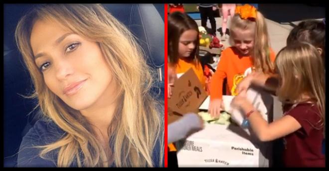 Дженнифер Лопес пожертвовала годовой запас еды голодным детям