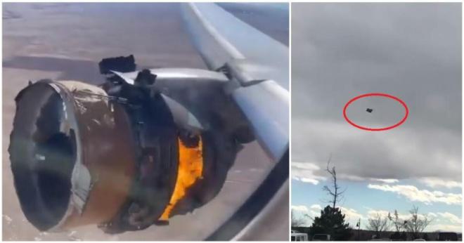 У Boeing 777 во время полета развалился и загорелся двигатель
