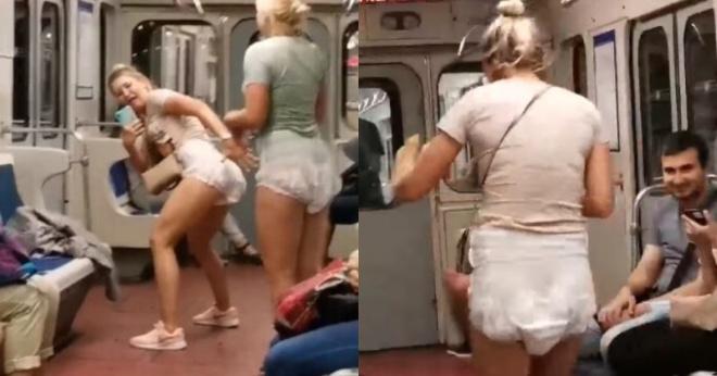 Без штанов и масок: две девушки в Петербурге, надев подгузники, устроили забег по вагону метро