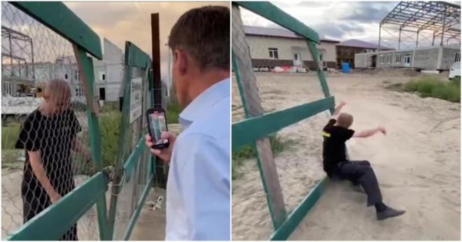 Пьяный сторож упал перед губернатором Приморья во время проверки школы